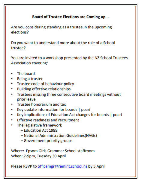 Aspiring Board of Trustees Workshop | Remuera Intermediate School
